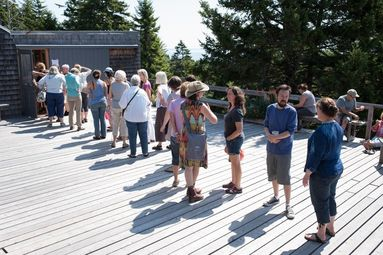 Twenty people standing in line on a deck in the sunshine.